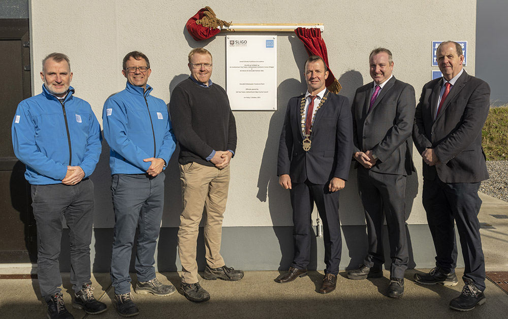 Pictured at the official opening of the Waste water treatment plant Strandhill, Sligo. L/R Anthony Skeffington (Irish Water), Paul Fallon (Irish Water), Cllr Paul Taylor, Cathaoirleach of Sligo County Council, John Gibbons (Coffey), Eoin Colgan (Coffey) Pic: Michael McLaughlin