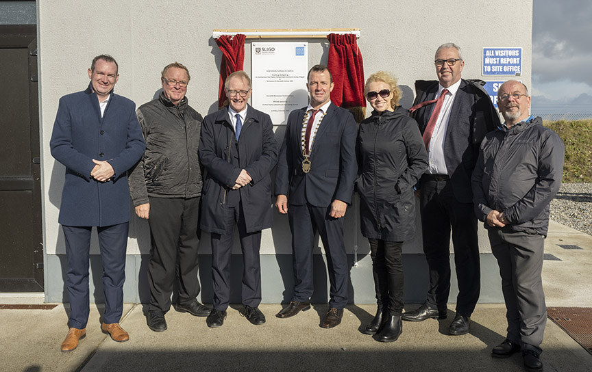 Pictured at the official opening of the Waste water treatment plant Strandhill, Sligo. Pictured at the plaque unveiling by the Cathaoirleach of Sligo County Council. L/R Cllr. Thomas Walsh, Cllr. Martin Connolly (Cathaoirleach Of Ballymote / Tubbercurry Municipal District), Minister Frank Feighan (Minister of State for Department of Health (Public Health, Well Being and National Drugs Policy), Cllr. Paul Taylor Cathaoirleach Of Sligo county Council, Cllr. Marie Casserly (Cathaoirleach Of Sligo-Drumcliff Municipal District), Cllr. Donal Gilroy and Cllr. Arthur Gibbons (Cathaoirleach Of Sligo-Strandhill Municipal District) . Pic: Michael McLaughlin